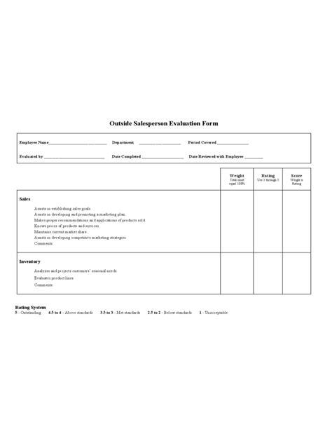 Evaluation Salesperson Evaluation Form Salesperson Evaluation Template