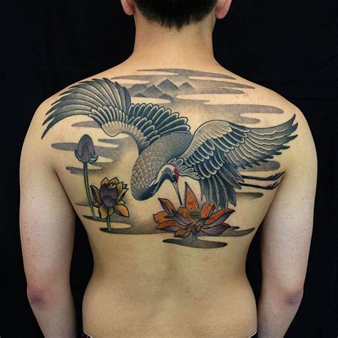 japanese bird tattoo soaring crane cool tattoos