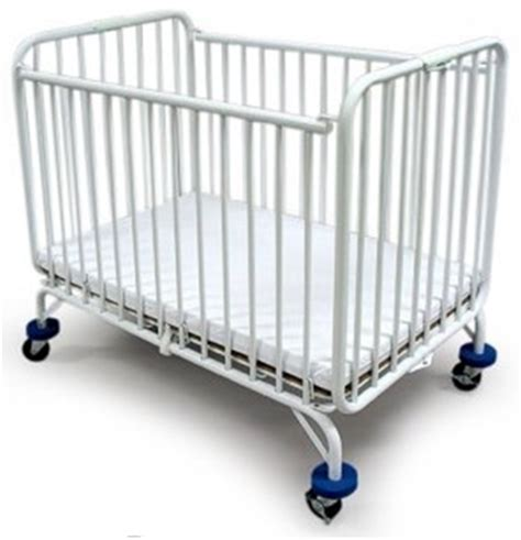 La Baby Compact Metal Folding Holiday Crib White La Baby Crib