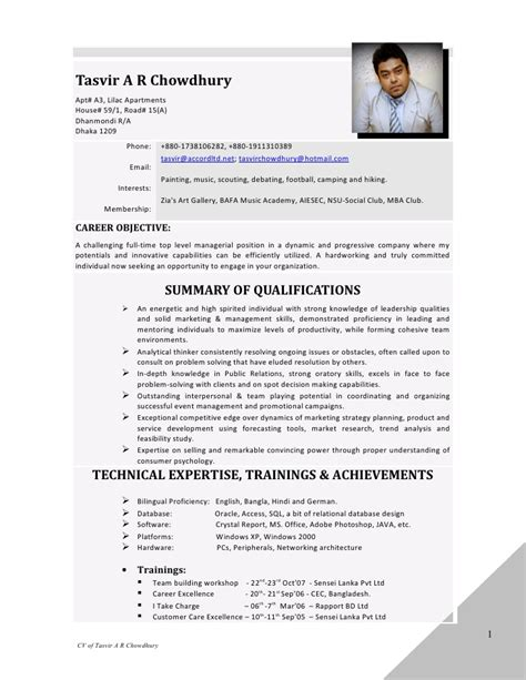 resume tasvir a r chowdhury april 2012