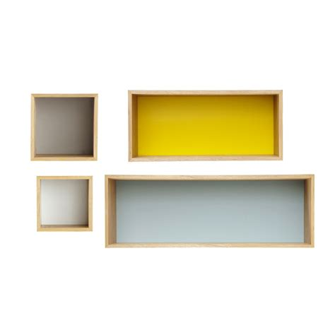 Wall L by 4 Vintage Multicoloured Wooden Wall Shelves L 25 To 100 Cm