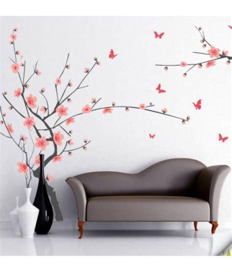 Xl7120 Wallsticker 50x70 stickerskart wall stickers grey branch with pink flowers