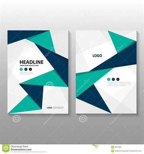 book layout eps abstract triangle blue green purple polygon annual report