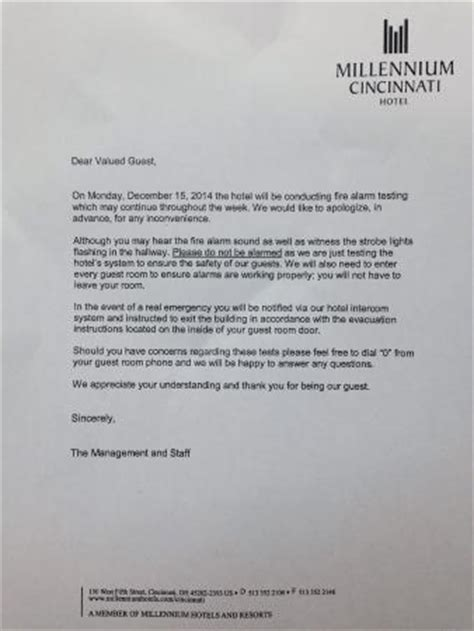 Notice About The Fire Alarm Testing Picture Of Millennium Cincinnati Cincinnati Tripadvisor Alarm Testing Notice Template