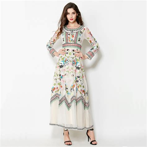aliexpress buy new fashion summer dress 2017 runway embroidery dress 2017 summer fashion new european runway colorful flowers mesh sleeve ankle