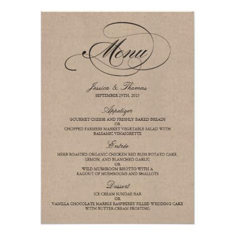 elegant kraft wedding menu templates card zazzle
