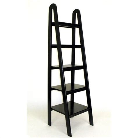 Basswood 5 Tier Ladder Bookcase In Black 9025b Ladder Bookcase