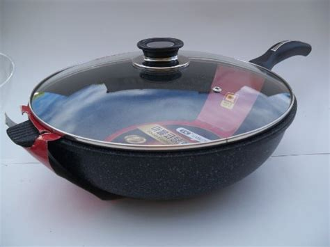 Wok Marble Firewall 32 Cm marble ware wl32 ceramic marble coated non stick cast aluminium wok with lid 32 cm 12 5 inches