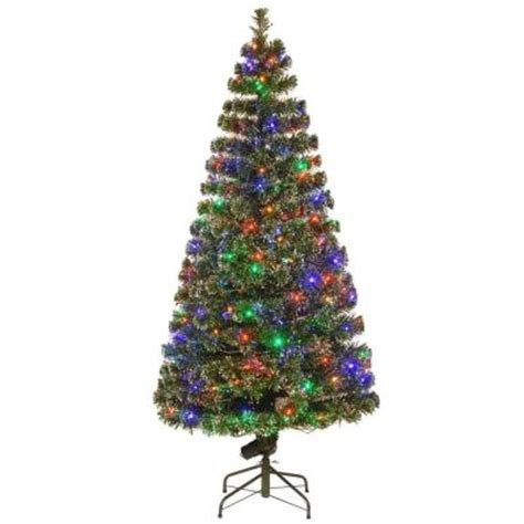 home depot fiber optic christmas tree national tree company 6 ft fiber optic evergreen artificial tree with led lights sze7