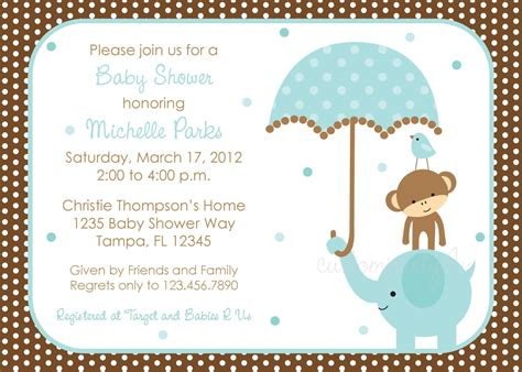 Baby Boy Shower Invitation by Polka Dot Elephant Baby Shower Invitation Boy Design