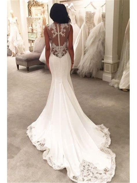 button  mermaid long train wedding dress  lace