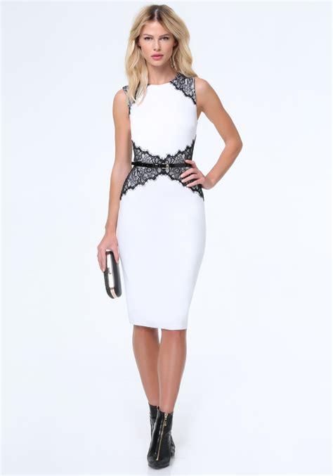 bebe lace corset midi dress in white lyst