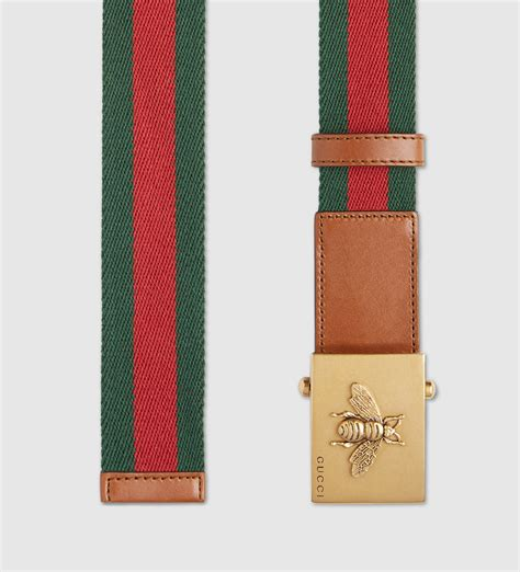 Belt Gucci Canvas Gold Premium lyst gucci canvas web belt with bee buckle