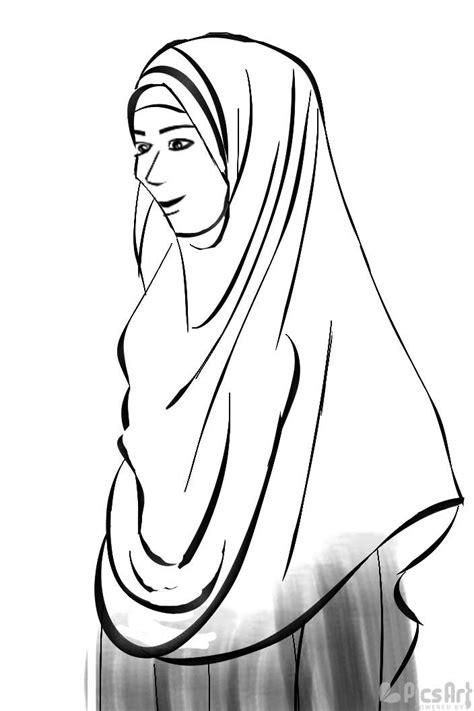 6 gambar sketsa wanita berhijab tercantik dp bbm dp bbm