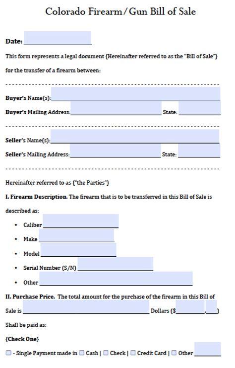 Free Colorado Gun Firearm Bill Of Sale Form Pdf Word Doc Bill Of Sale Template Colorado