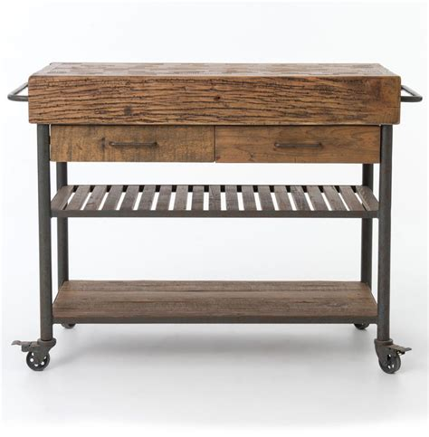 wood kitchen island cart kershaw rustic chunky reclaimed wood iron double drawer
