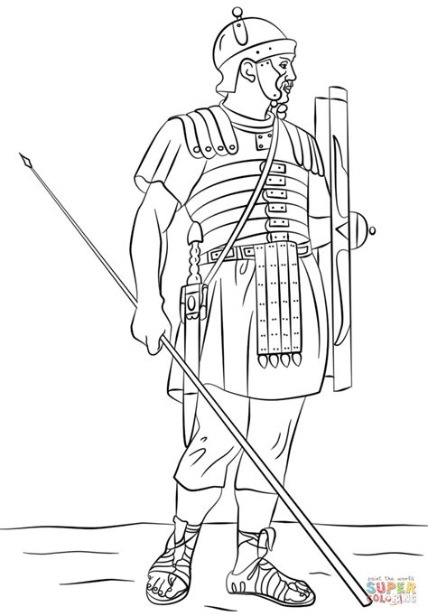 roman legionary soldier coloring page free printable