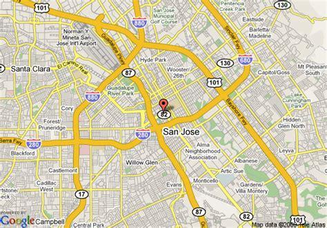 san jose road map map of marriott san jose san jose