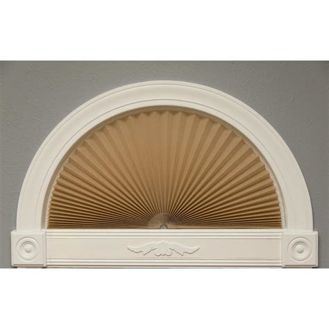 light blocking arch window shade homebasics sunburst style faux wood white arch price