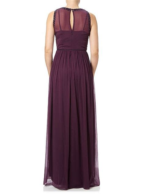 papell beaded evening dress purple house of fraser