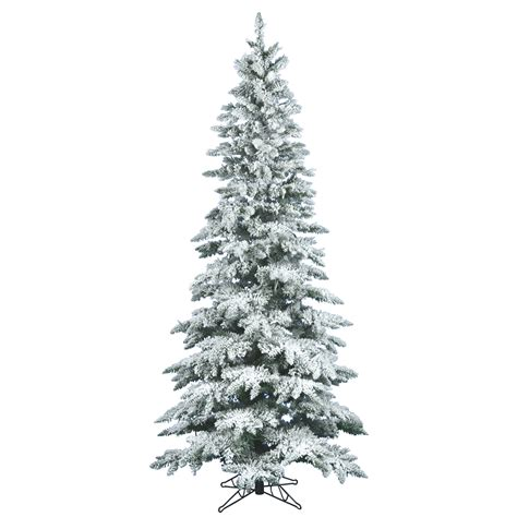 6 5 foot slim flocked utica fir christmas tree unlit