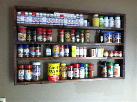 large rustic spice rack organization kitchen decor