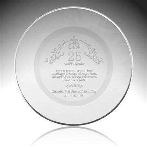 25th anniversary plates personalized holy union personalized 25th anniversary plate with silver