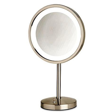 bed bath and beyond lighted makeup mirror jerdon 174 tabletop led lighted vanity mirror in nickel bed