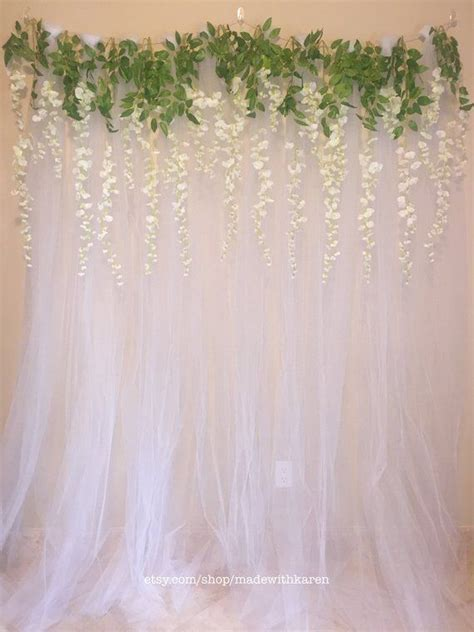 Tulle Backdrop Curtain Photo Booth with Hanging Wisteria
