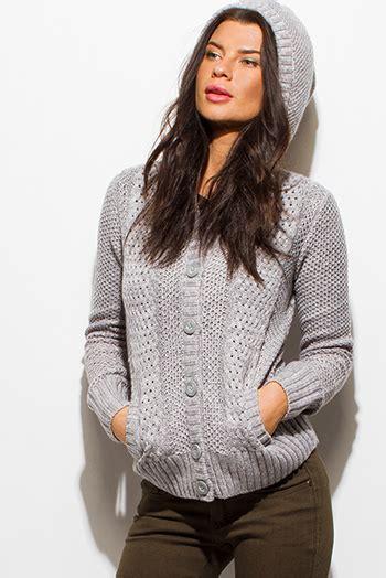 Sweater Trumpet Grey Sm shop wholesale womens ivory beige crochet sweater knit sleeve hooded pocketed cardigan jacket