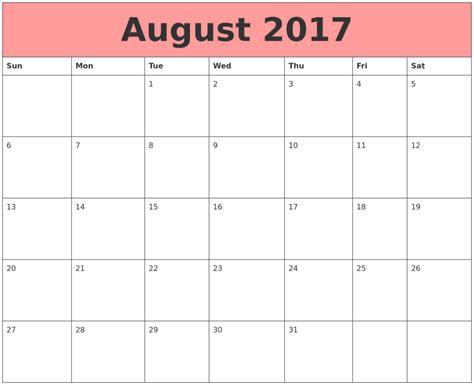 printable calendar august 2017 august 2017 calendar us