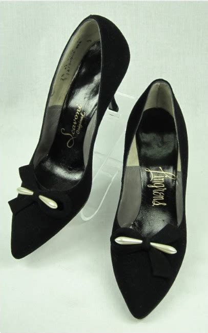 Sale Pedro Pointy Heels Ori vtg 50s suede pearl bows pointy toe stiletto shoes 7 5 for