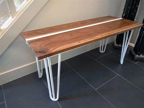 hairpin leg bench darren tonn walnut steel hairpin leg bench