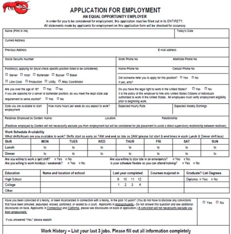 printable employment application texas red lobster job application form printable job application
