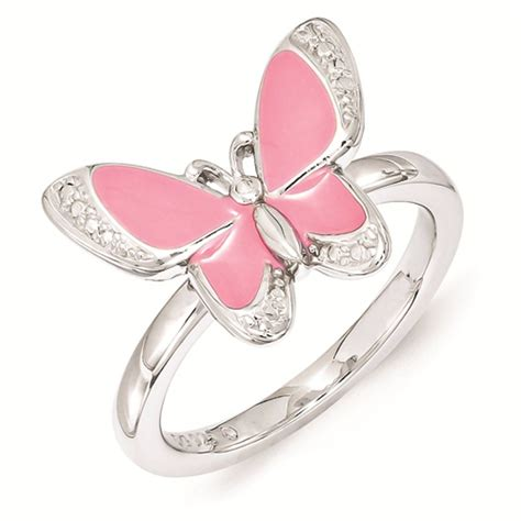 carinagems silver butterfly ring pink enameled white cz