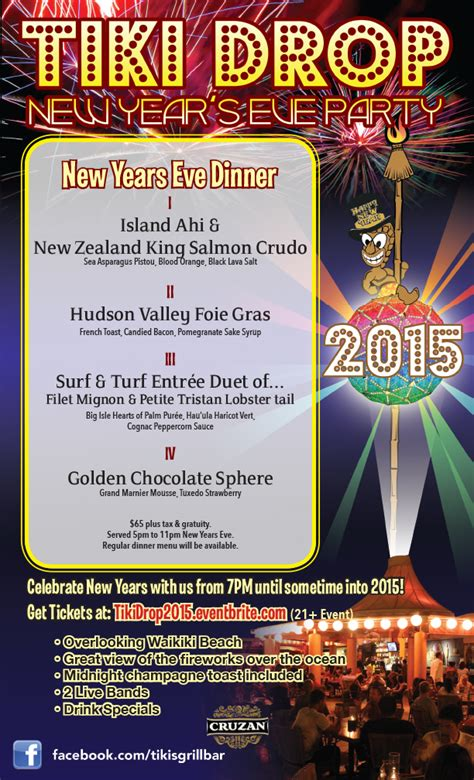 new year dinner booking tiki drop new years eventbrite