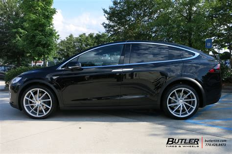 tesla model x with 22in vossen cvt wheels exclusively from