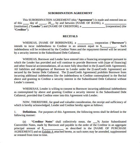 subordination agreement template sle subordination agreement 8 exle format