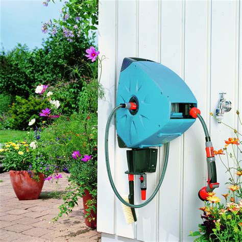 garden shop gardening stores gardena gardena wall mounted automatic retractable hose reel the