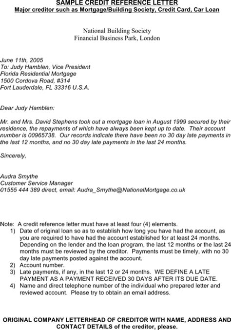Credit Letter For Loan Sle Credit Reference Letter Templates For Excel Pdf And Word