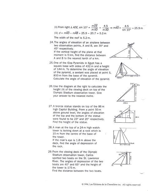 Trig Word Problems Worksheet by Trig Applications Worksheet Wiildcreative