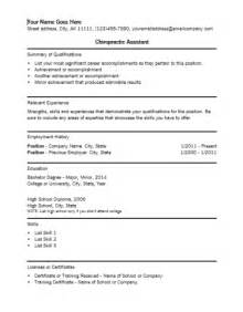 Chiropractor Receptionist Sle Resume by Chiropractic Assistant Resume Template