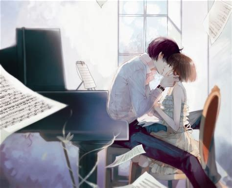 boy kissing a girl in bedroom anime boy and anime girl in music room kissing anime couples pinterest