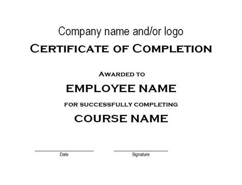 certificate of completion free word templates