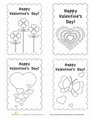 valentines day coloring cards template s day cards worksheet education