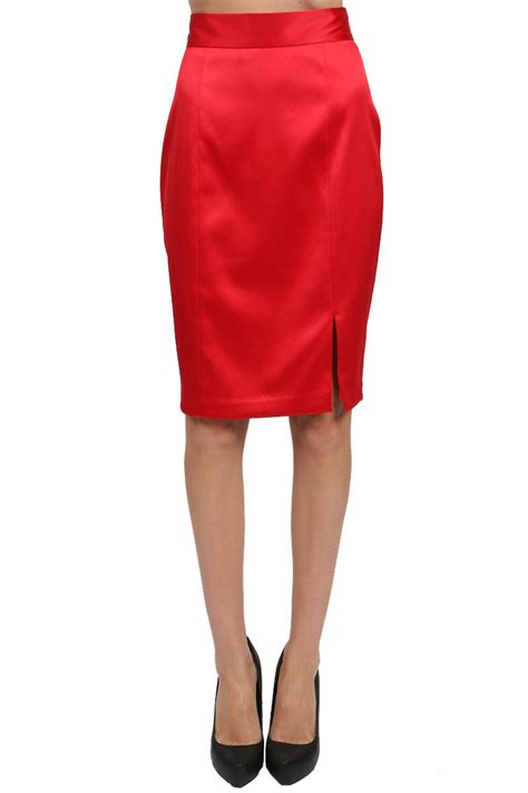 papell stretch satin pencil skirt in lyst