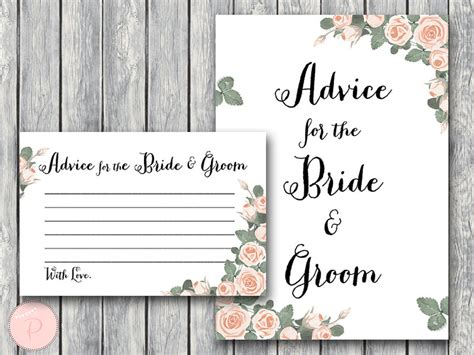 advice for and groom cards template pink floral bridal shower printable bows