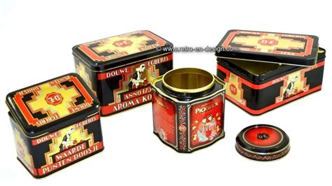 Set of four Douwe Egberts tins for coffee and tea   RECENTLY SOLD   Retro & Design   2nd hand