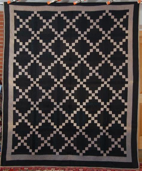 Black Quilt by 1910s Black Background Amish Chain Antique Quilt Ebay