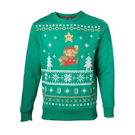 christmas themed clothing nz mario christmas jumper super star nintendo official uk